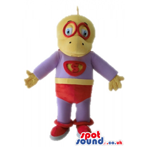 Yellow duck dressed as a superhero in a purple suit, with red