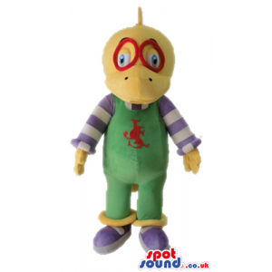 Yellow duck wearing red glasses, green gardener trousers with a