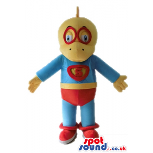 Yellow duck wearing red glasses and a blue super hero suit with