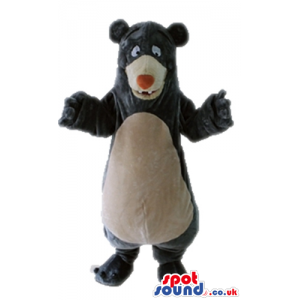Brown bear with a beige belly and a red nose - Custom Mascots