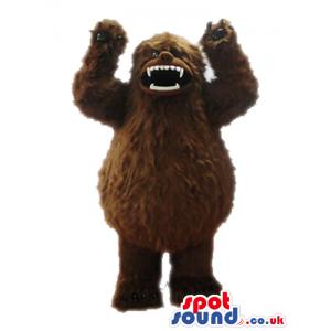 Fierceful brown bear with sharp white teeth - Custom Mascots