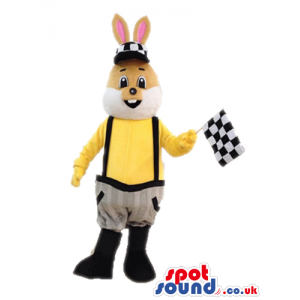 Beige rabbit with pink ears wearing a yellow shirt, grey