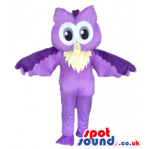 Purple owl with big eyes - your mascot in a box! - Custom