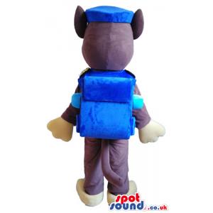 Brown dog dressed as a policeman with a blue uniform - Custom