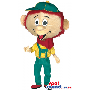 Pinocchio Mascot With Green, Yellow And Red Garments - Custom