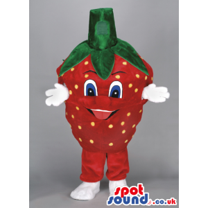 Strawberry Fruit Mascot With Blue Eyes And White Hands - Custom