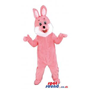 Pink rabbit mascot giving an amazed look with his opened mouth