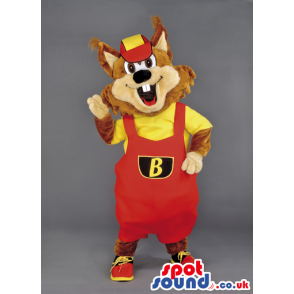 Chipmunk Animal Mascot With Red Overalls, Cap And Sneakers -