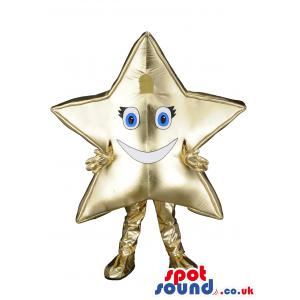 Star man mascot in a shiny gold gloves,pants and shoes - Custom