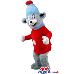 Beaver Animal Mascot With Christmas Sweater And Hat - Custom