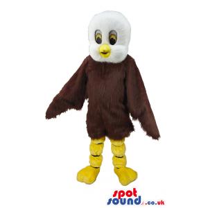 Brown And White Bird Mascot With Yellow Beak And Legs - Custom