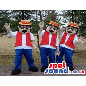 Three Human Mascots With Black Glasses, A Hat, A Vest And Pants