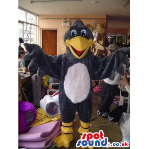 Bird Animal Mascot With Yellow Legs And Beak And White Belly -
