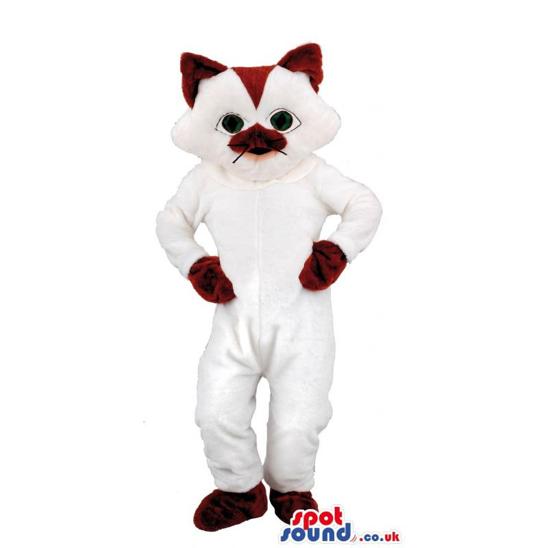 White and maroon cat mascot with his hands in his waist -
