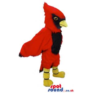 Customizable Red Bird Mascot With Long Wings And Black Beak -