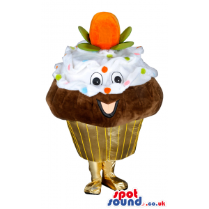 Cupcake Food Mascot With Big Fruit And Colorful Frosting -