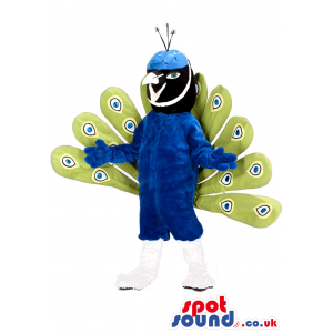 Peacock Bird Mascot With Amazing Feathers And Blue Body -