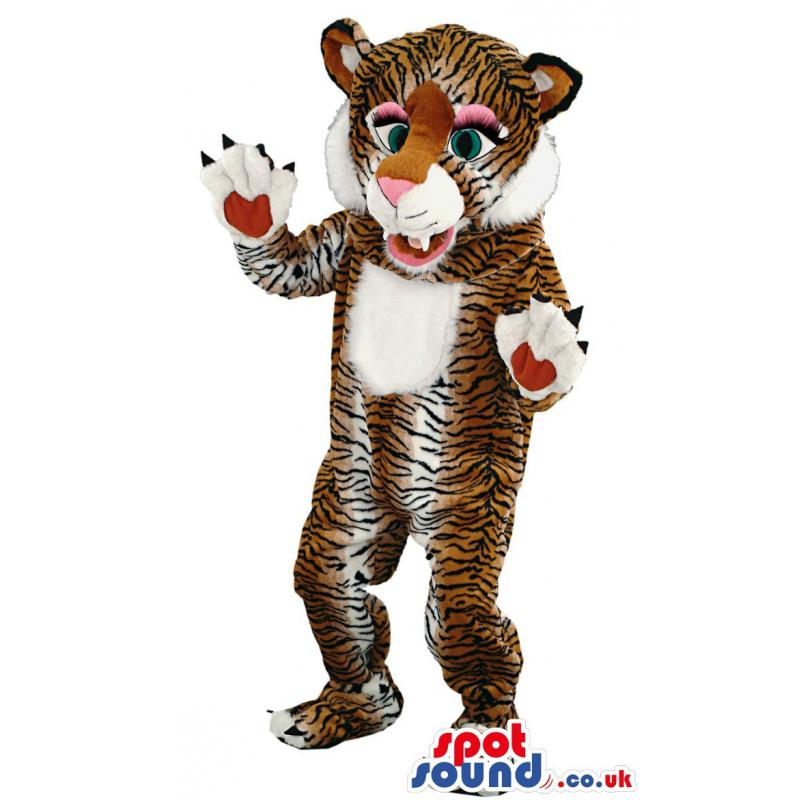 Tiger mascot with green eyes his paws showing and dancing -