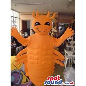 Orange Shrimp Seafood Mascot With Black Eyes And Many Legs -