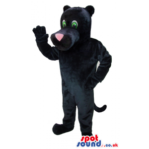 Black Panther Animal Mascot With Pink Nose And Green Eyes -