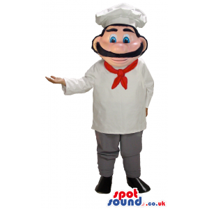 Human Chef Mascot With Red Ribbon And Black Mustache - Custom