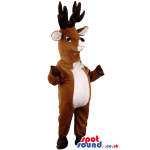 Brown Reindeer Animal Mascot With Huge Horns And Small Eyes -
