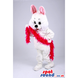 White Easter Bunny Animal Mascot With Red Feather Boa - Custom