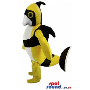 Yellow, Black And White Fish Mascot With Tail And Fins - Custom
