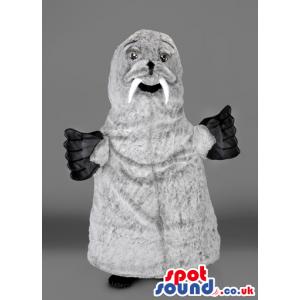 Grey Walrus Sea Animal Mascot With Long White Fangs - Custom
