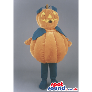 Halloween Pumpkin Mascot With Leaves And Carved Smile - Custom