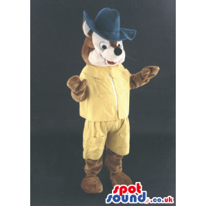 Brown And Beige Fox Animal Mascot Wearing Yellow Clothes And A