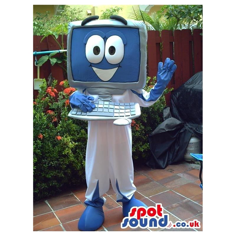 Computer mascot with a white trouser and smiling and saying hi
