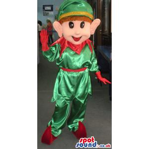 Boy mascot who is in green shirt and pant with red shoes -