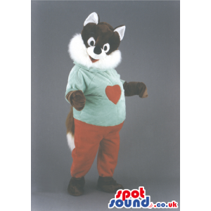 Fox Animal Mascot With Red Pants And Green T-Shirt With A Heart