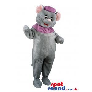 Rat mascot with a purple hat and a purple muffler - Custom