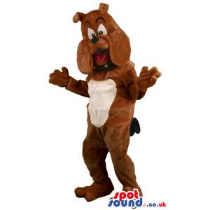 Brown Bulldog Animal Mascot With Collar And Bent Ears - Custom