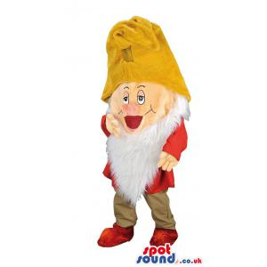 Sleepy dwarf mascot with a yellow hat and a red costume -