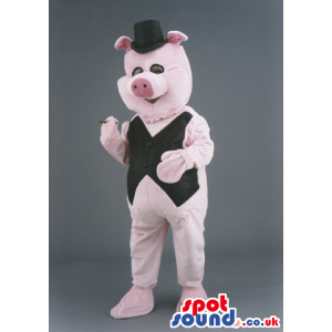 Piglet Animal Mascot With Elegant Black Vest And Hat - Custom