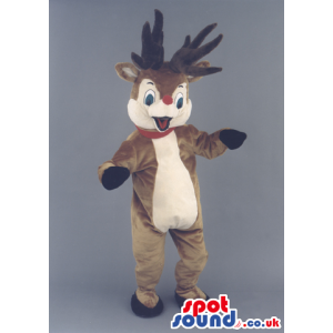 Rudolph It Reindeer Christmas Animal Mascot With Red Nose -