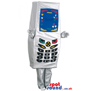 Mobile Phone Object Mascot In Silver With Black Keys And Screen