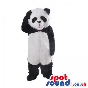 Customizable Hairy Black And White Panda Bear Animal Mascot -