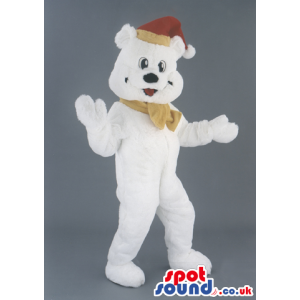 White Bear Animal Mascot With Christmas Red Hat And Bow -