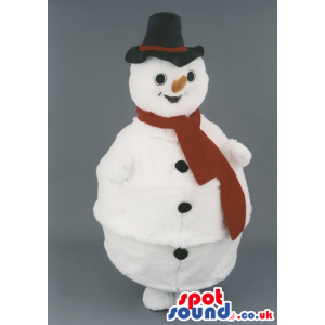 White Snowman Mascot Wearing Black Hat And Red Scarf - Custom