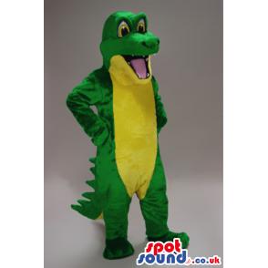 Plain And Customizable Green And Yellow Crocodile Animal Mascot