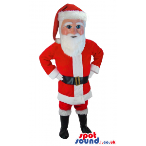 Santa Claus Human Mascot With Red And White Christmas Garments