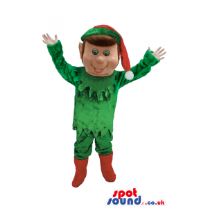 Elf Christmas Mascot With Red Hat And Boots And Green Clothes -