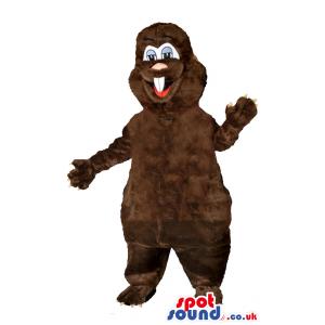 Customizable Brown Beaver Animal Mascot With Red Vest - Custom