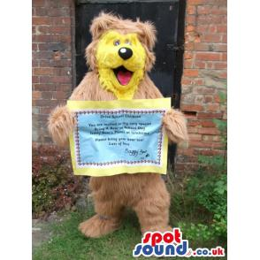 Brown bear mascot with his mouth open inviting all of you -