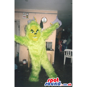 Plain Yellow Customizable Hairy Monster Mascot With Angry Look