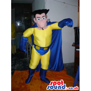 Yellow And Blue Superhero Human Mascot With Blue Cape - Custom